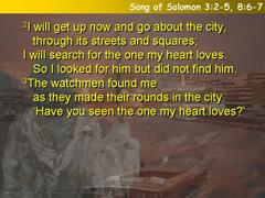 Song of Solomon 3:2-5, 8:6-7