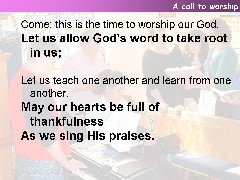 A call to worship