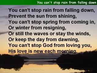 You can't stop rain from falling down
