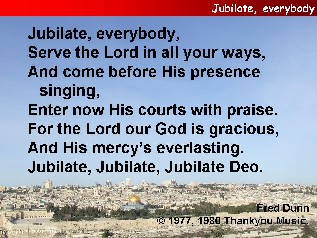 Jubilate, everybody