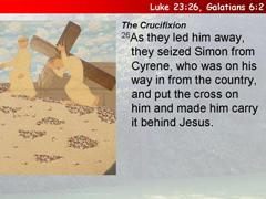 5) Simon of Cyrene carries Jesus' cross