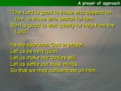 A prayer of approach