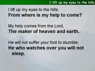 I lift up my eyes to the hills (Psalm 121)