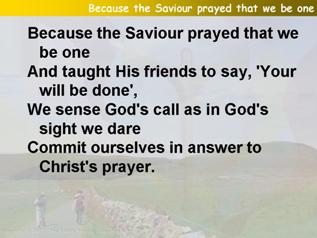 Because the Saviour prayed that we be one