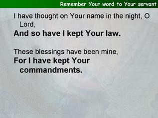 Remember your word to your servant (Psalm 119.49-56, (57-72)