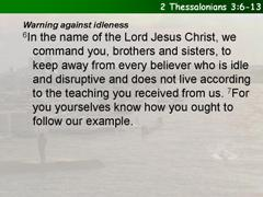 2 Thessalonians 3:6-13