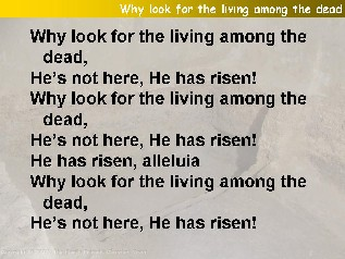 Why look for the living among the dead (He has risen)